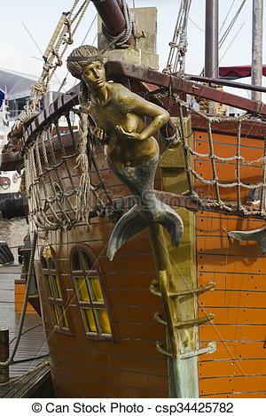 Bilder von Galionsfigur, Schiff, Segel, altes, Nixe.