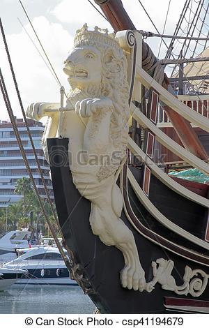 Bilder von kriegsschiff, löwe, uralt, Galionsfigur, Geformt.