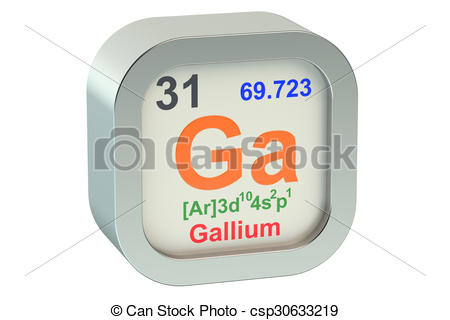 Clipart of Gallium element symbol isolated on white background.