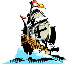Spanish galleon clipart.
