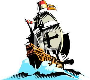 Spanish galleon clipart.
