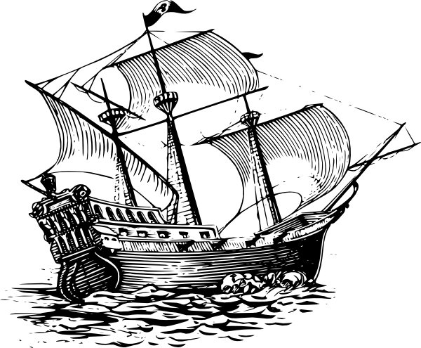 Galleon Sail Ship clip art Free Vector / 4Vector.