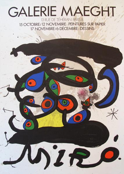 1970s Surrealist Abstract Poster, Joan Miro at Galerie Maeght.