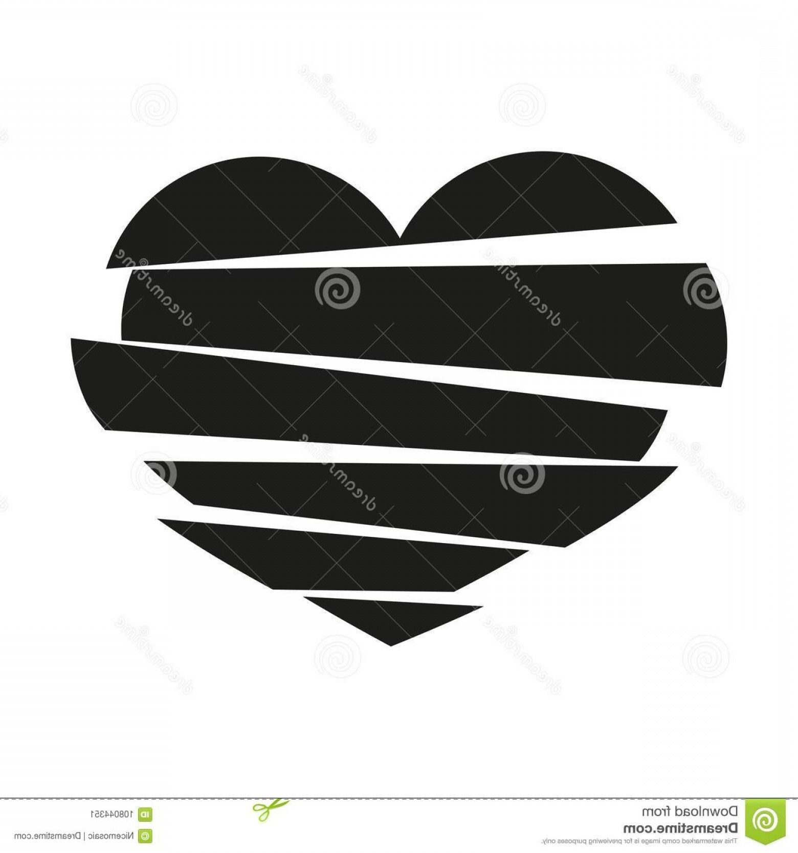 Broken Heart Vector: Black Stripes Broken Heart Vector White.