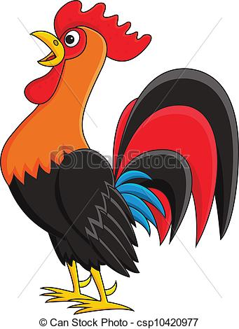 Vectors Illustration of Rooster cartoon csp10420977.