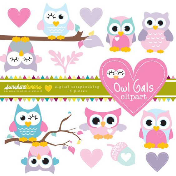 Owl Gals Clipart Pink and Purple Owl Clipart by SunshineLemons.
