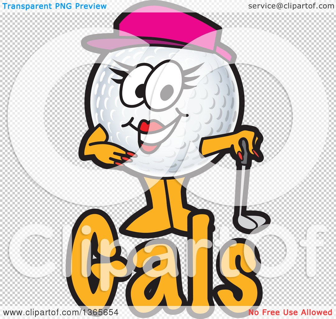 Clipart of a Female Golf Ball Sports Mascot Character over Gals.