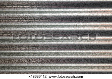 Clip Art of zinc galvanized corrugated metal texture horizontal.