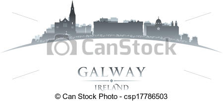 Vector Clipart of Galway Ireland city skyline silhouette white.