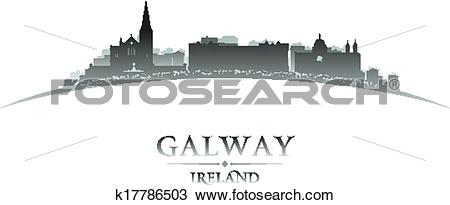 Clipart of Galway Ireland city skyline silhouette white background.