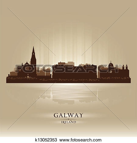 Clipart of Galway Ireland skyline city silhouette k13052353.