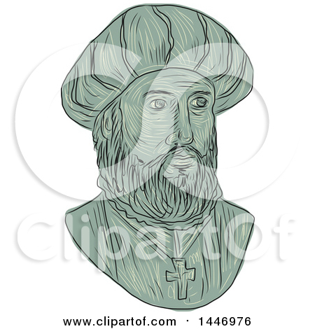 Clipart of a Sketched Drawing Styled Bust of Vasco Da Gama, 1st.