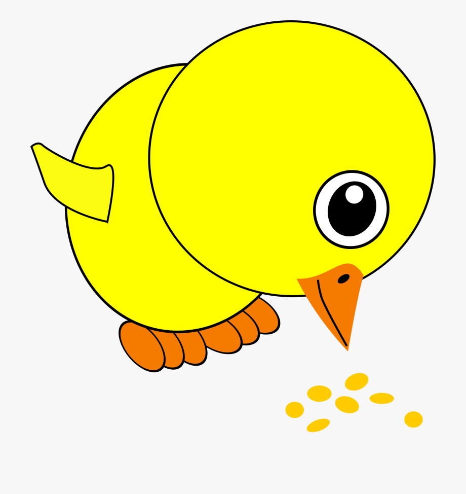 Free Vector Funny Chick Eating Bird Seed Cartoon.