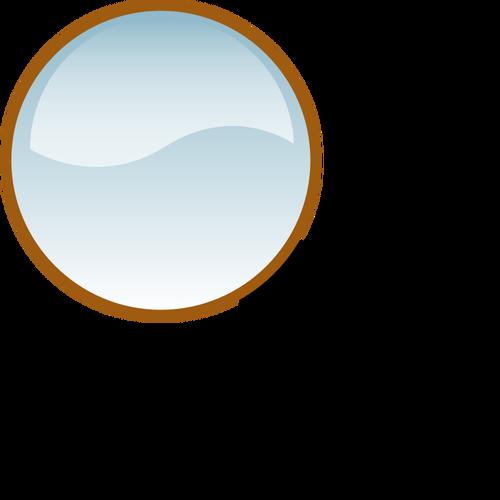 Gambar vektor mengkilap kaca pembesar.