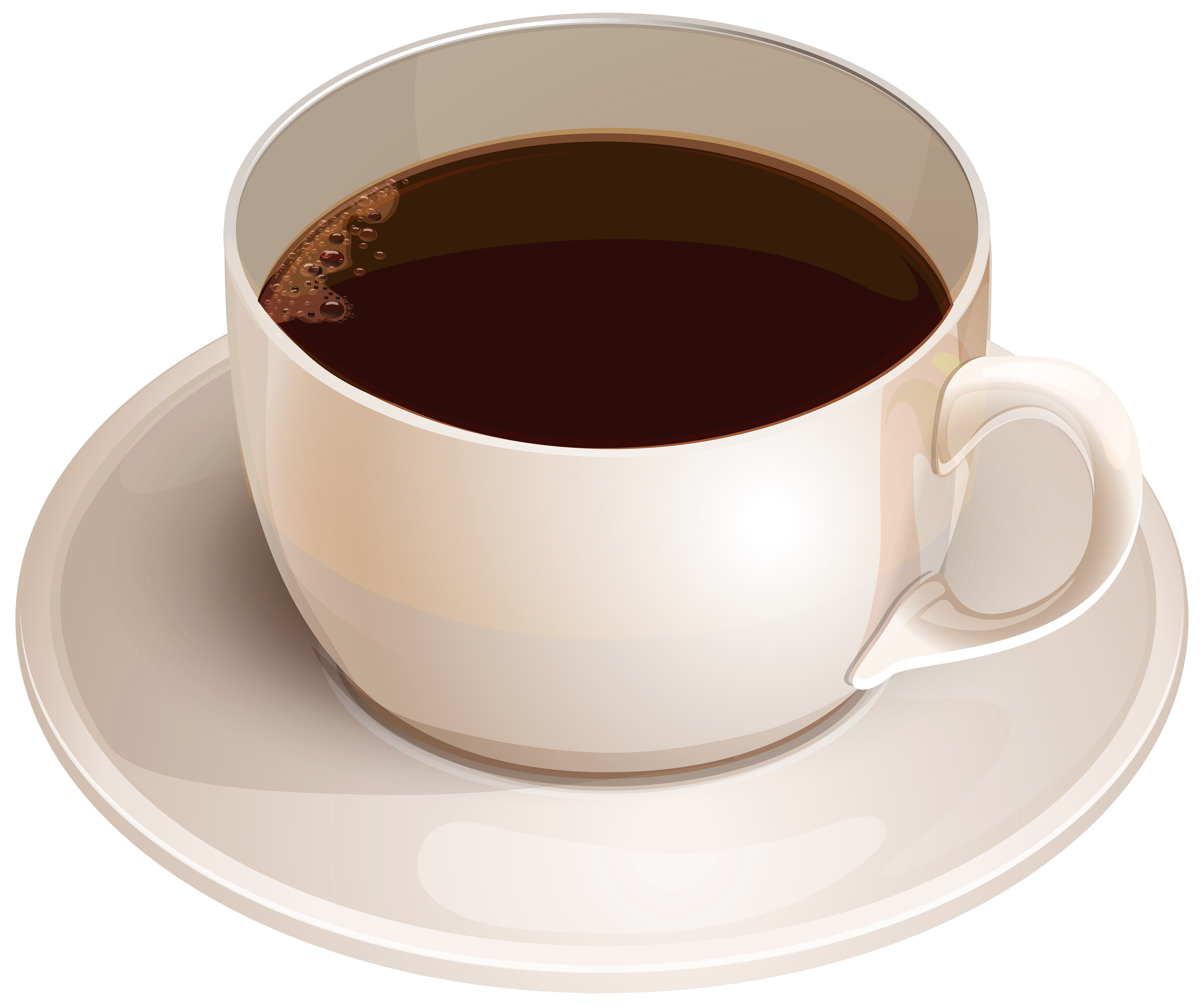 White Cup with Coffee PNG Clipart.