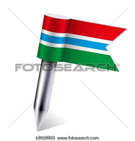 Clipart of Vector Gambia flag isolated on white. Eps10 k9559953.