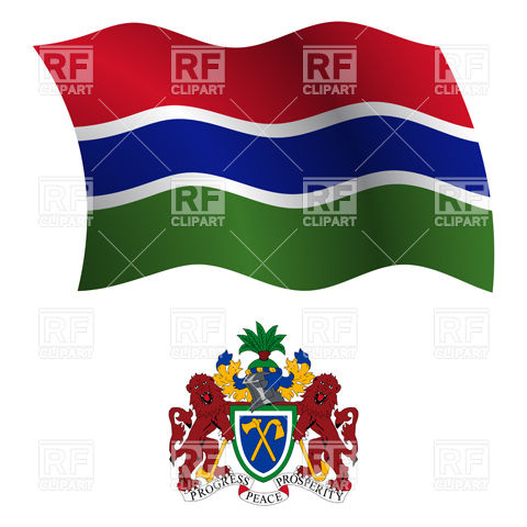 Gambia flag and coat of arms Vector Image #20649.