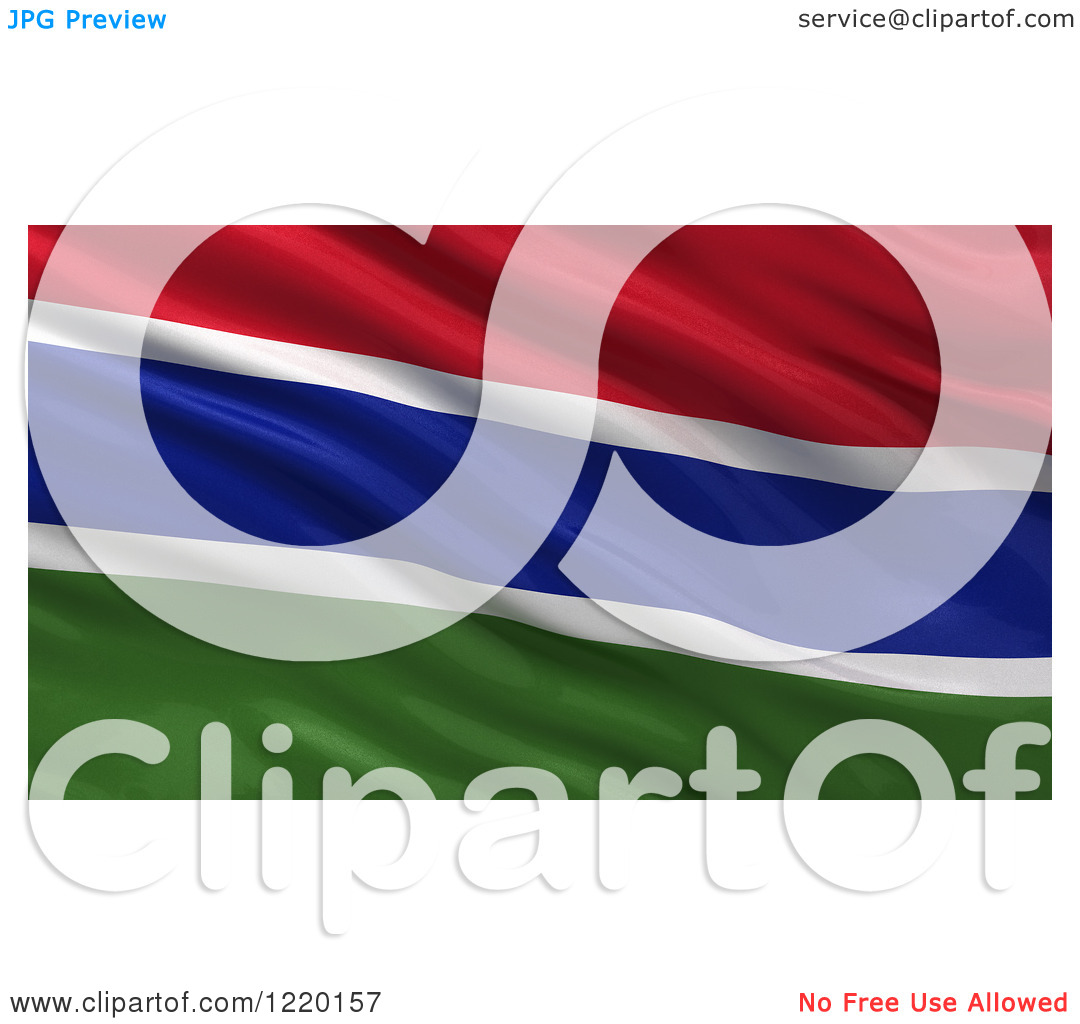 Clipart of a 3d Waving Flag of Gambia with Rippled Fabric.