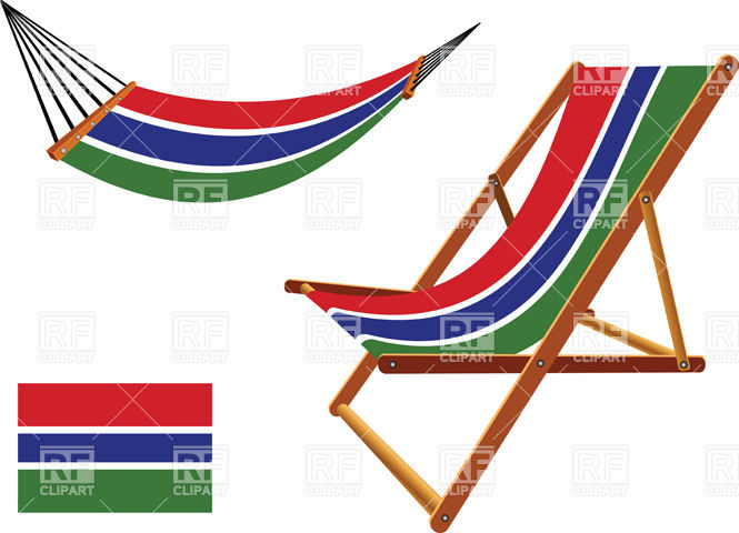 Gambia flag hammock and deck chair Vector Image #31147.