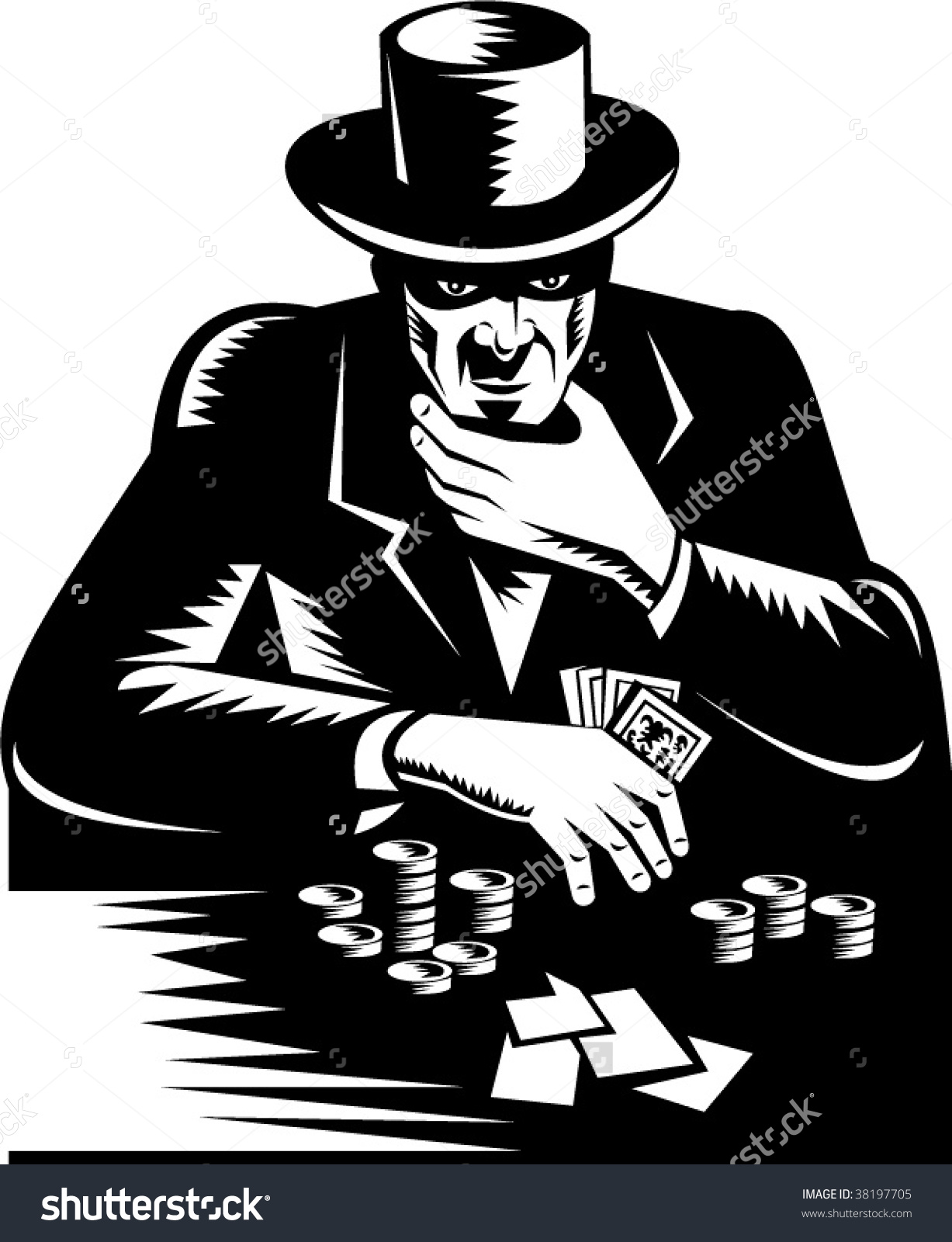 Gambler Top Hat Playing Card Game Stock Vector 38197705.