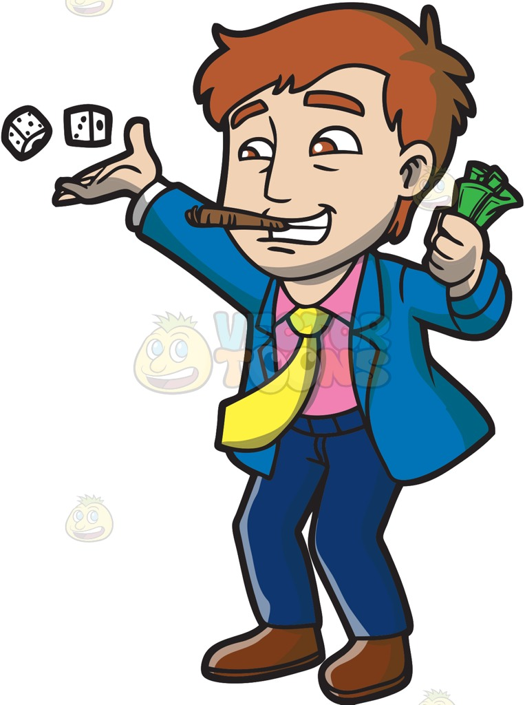 An Excited Gambler Throwing The Dice Cartoon Clipart.