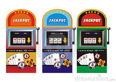 Slot Machine With Apples Stock Illustration.