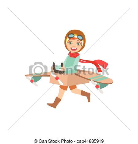 Vector Clip Art of Little Boy In Vintage Pilot Leather Outfit.
