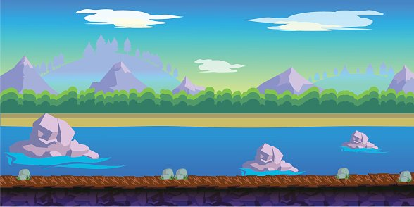 river Game Background for 2d game application Clipart Image.