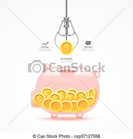 Clipart Vector of Infographic business claw game with coin piggy.