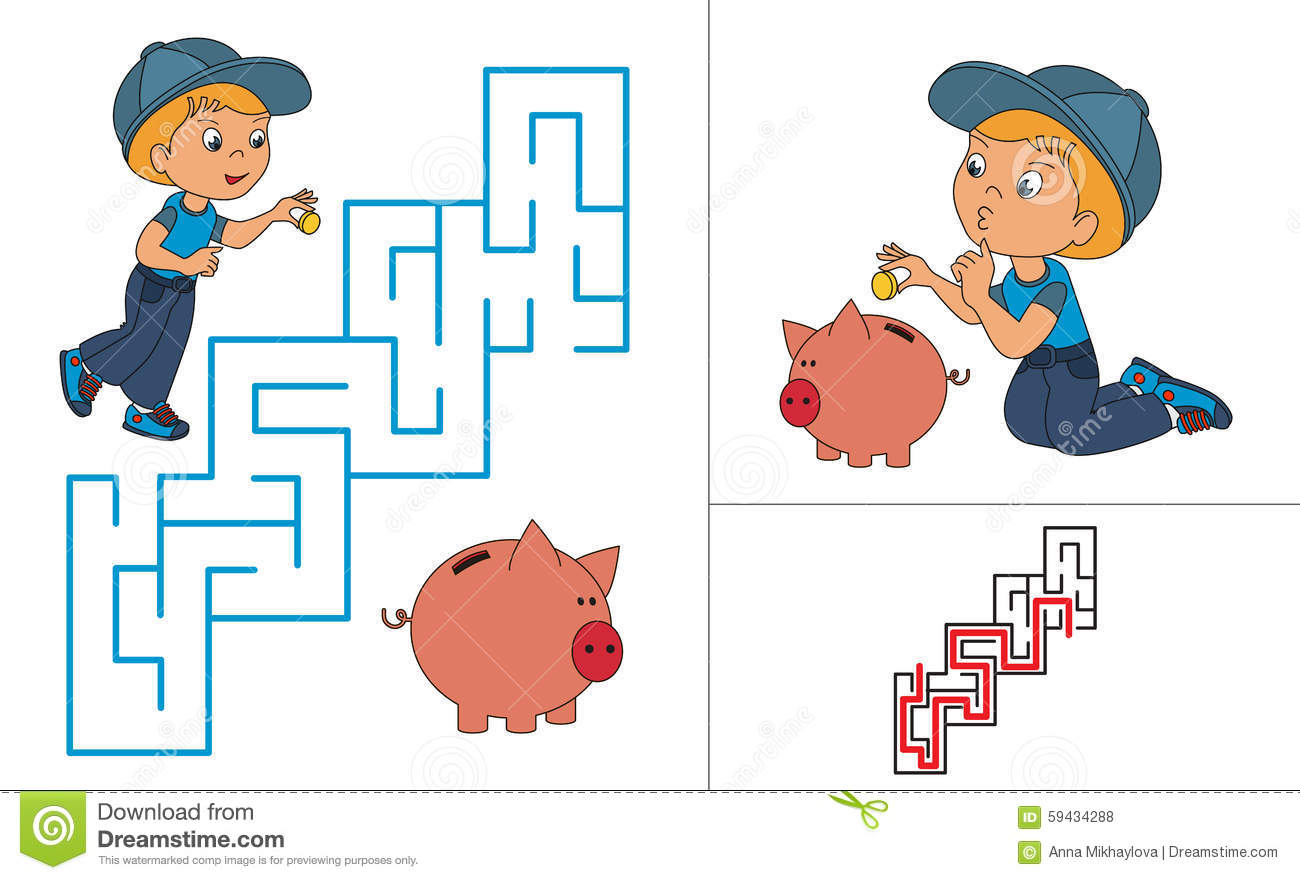 Riddle Game. One Cartoon Baby Boy Play With Pig Stock Vector.