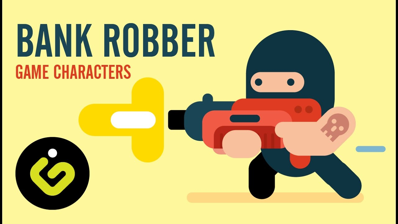 How to draw Game Character, Bank Robber, Speed Drawing Adobe.