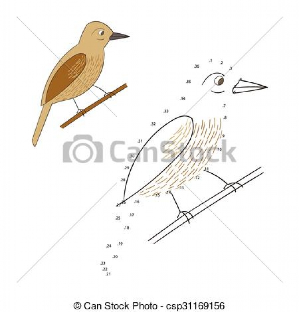 clipart vector of connect the dots game bird vector illustration.