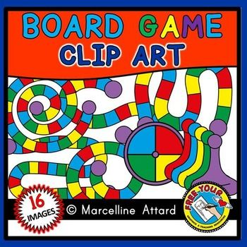 Game board clipart: 10 templates + spinner + game pieces: board.