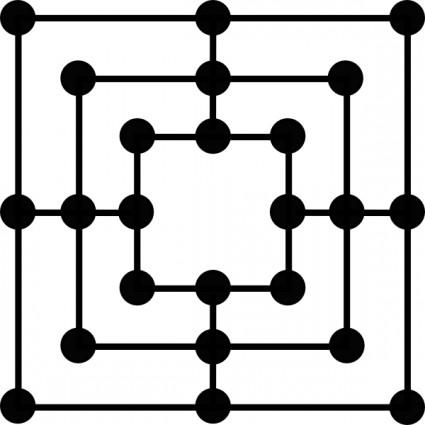 Image of Board Game Clipart #4986, Nine Mens Morris Game Board.