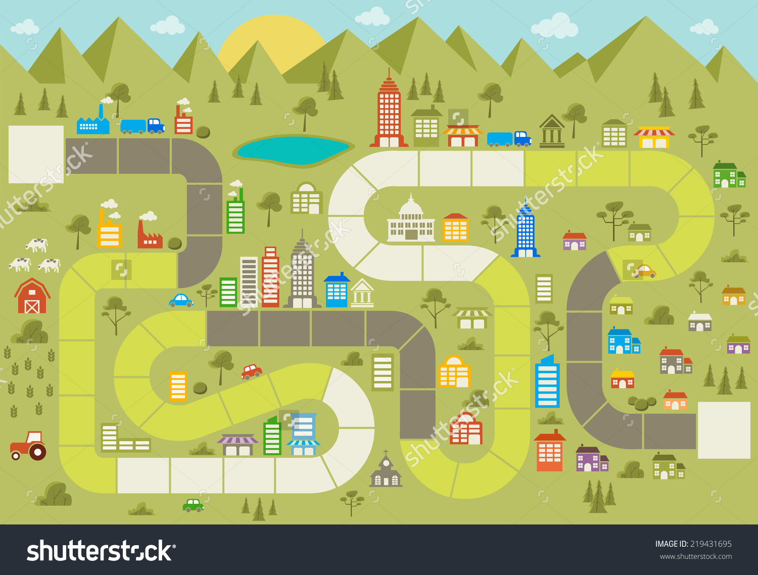 Board Game Block Path On City Stock Vector 219431695.