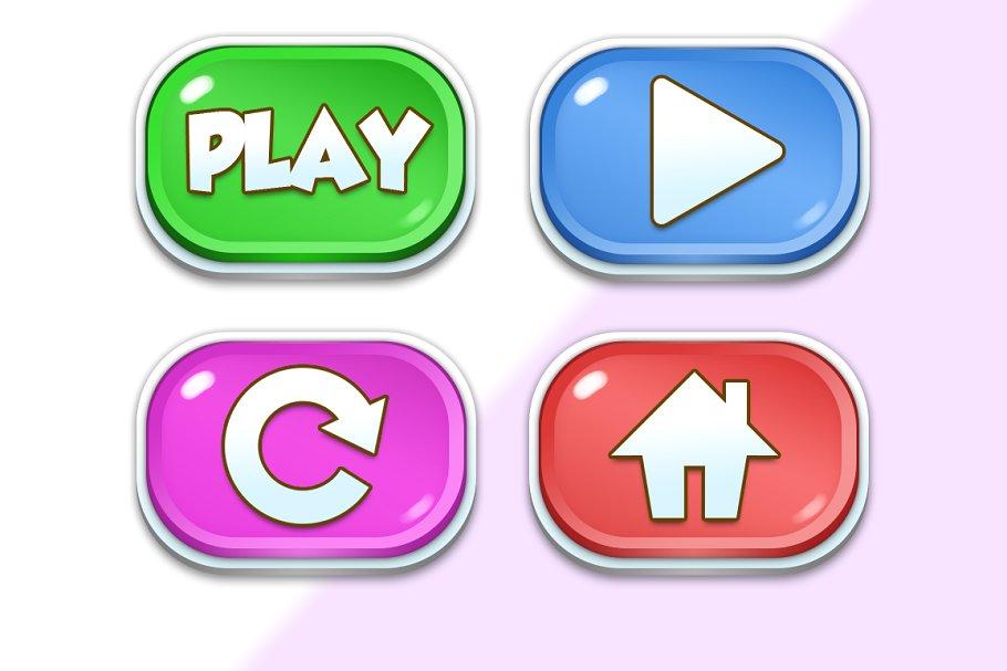 Game UI Buttons Cartoony.