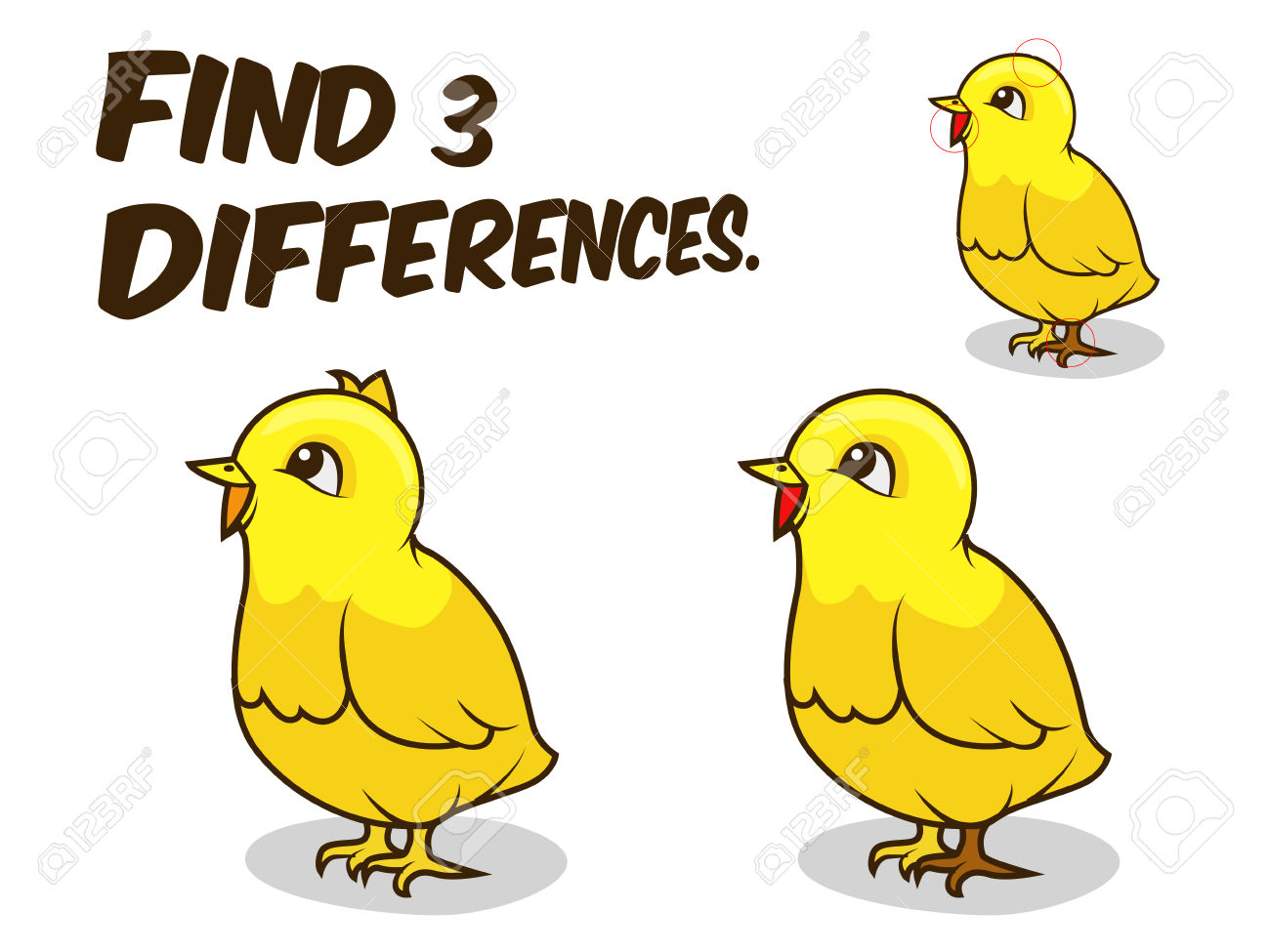 Find Differences Game Chicken Cartoon Colorful Vector Illustration.