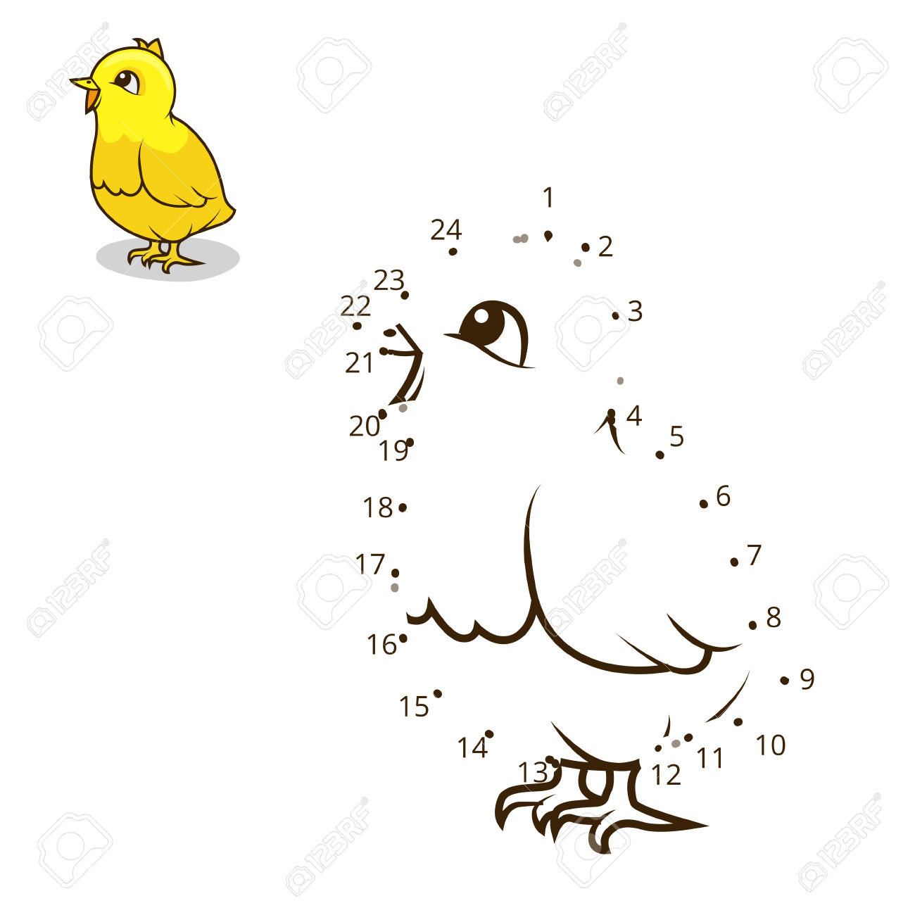 Connect The Dots Game Chicken Cartoon Colorful Vector Illustration.