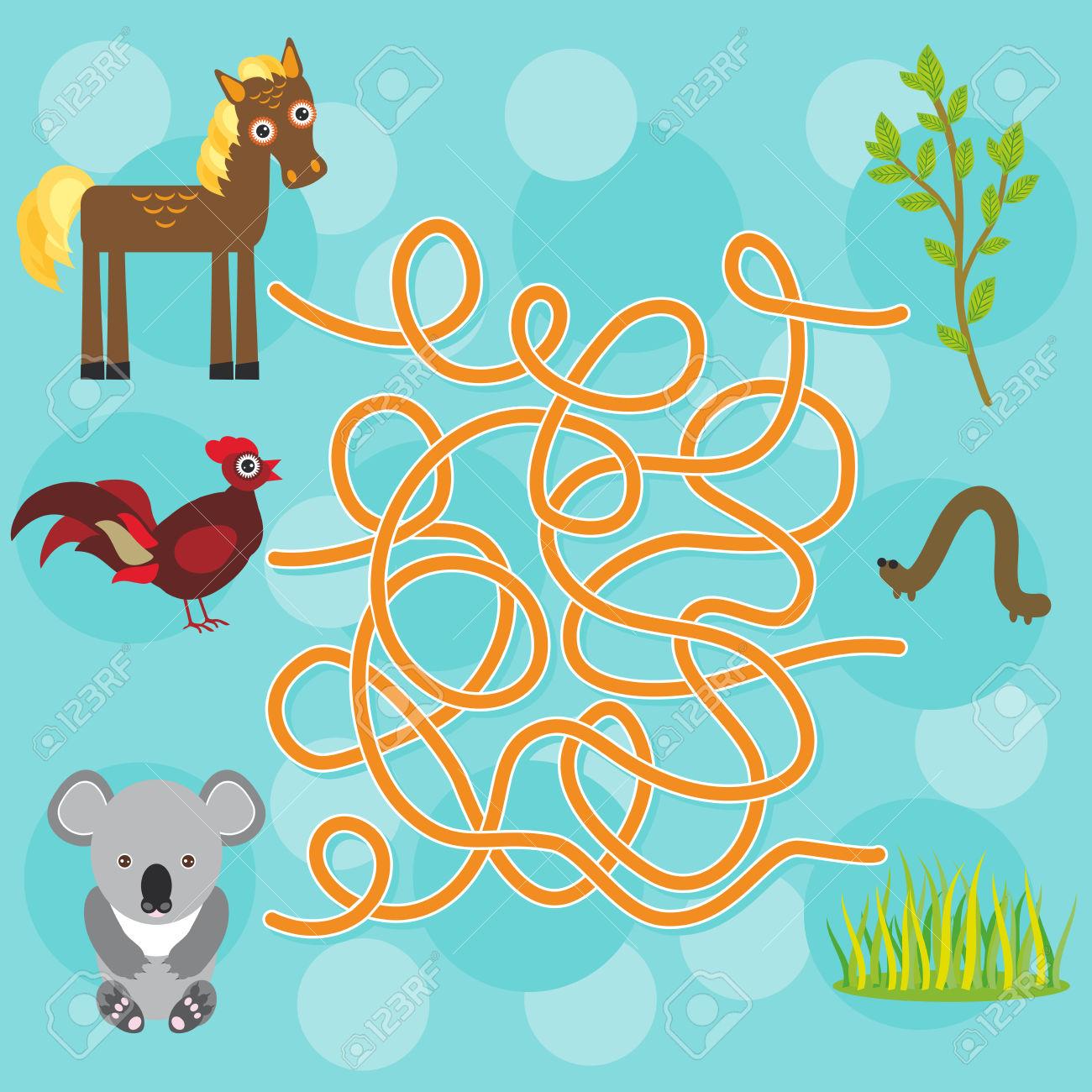 Chicken, Horse, Koala Labyrinth Game For Preschool Children.