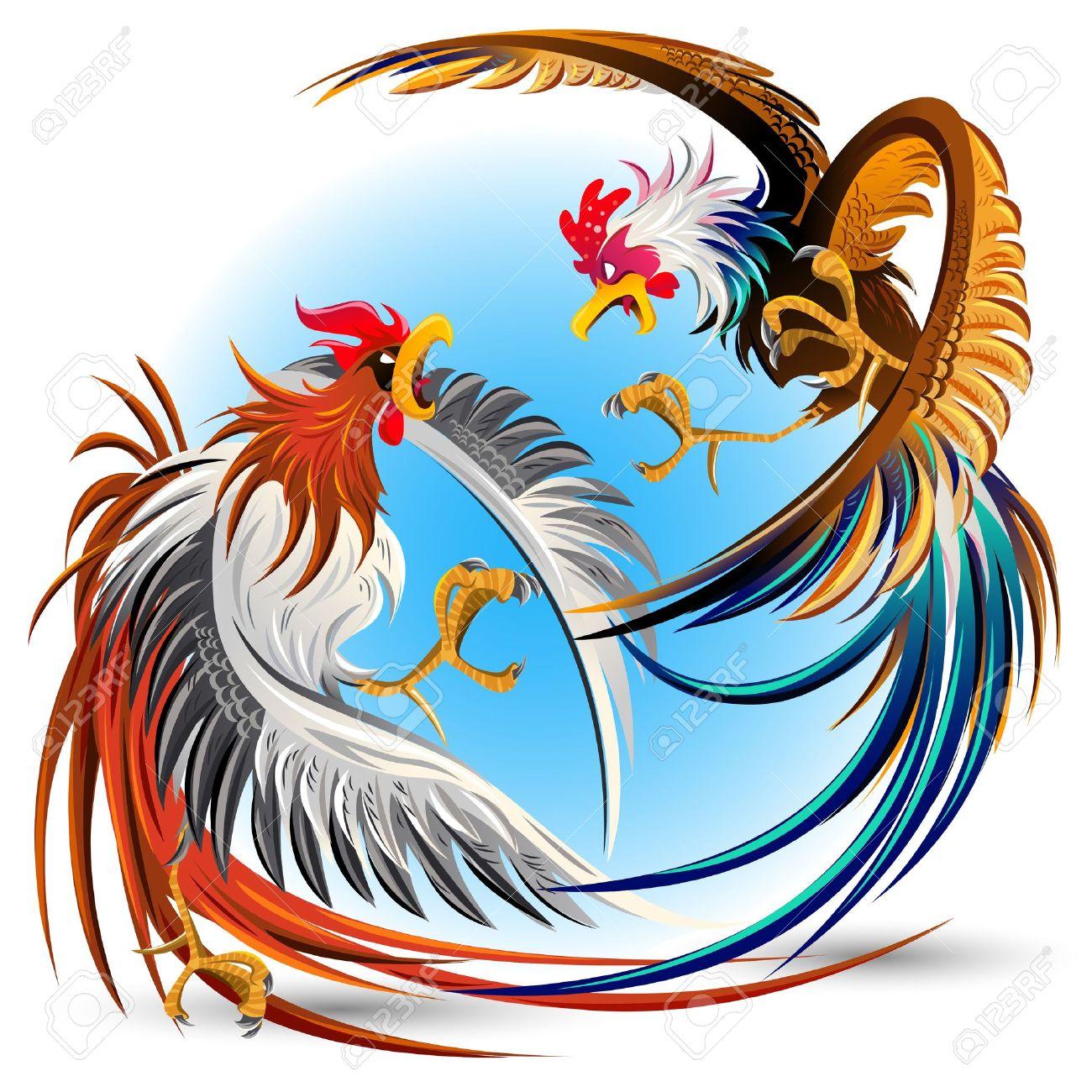 Fighting Chicken Cartoon.