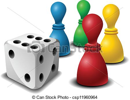 Clip Art Vector of Board game figures with dice.