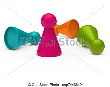 Stock Illustration of 3d game figure team pink orange blue.