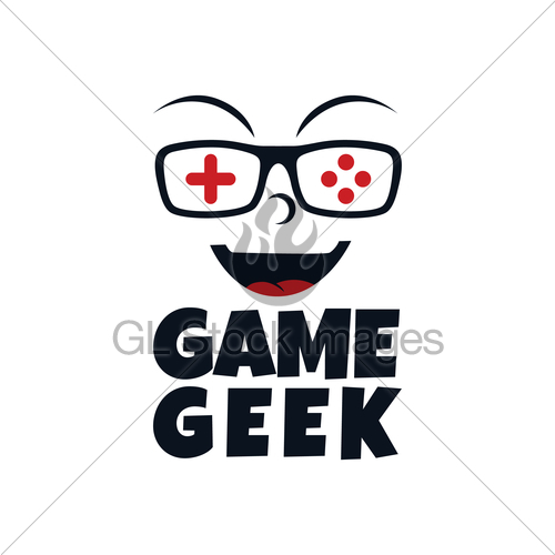 Game Geek Gaming Freak Logo Logotype Theme Cartoon Face · GL.