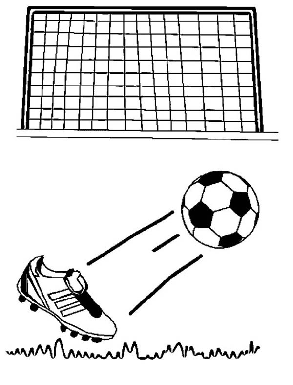 Soccer Ball Being Kicked Goal Cartoon.
