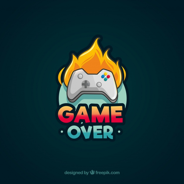 Video game logo template with joystick Vector.