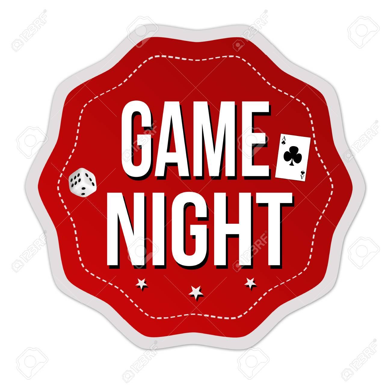 Game night label or sticker.