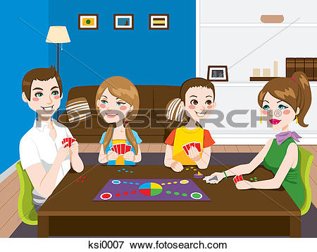 Stock Illustration of A family having a game night ksi0007.