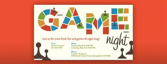 Game Night free online invitations.