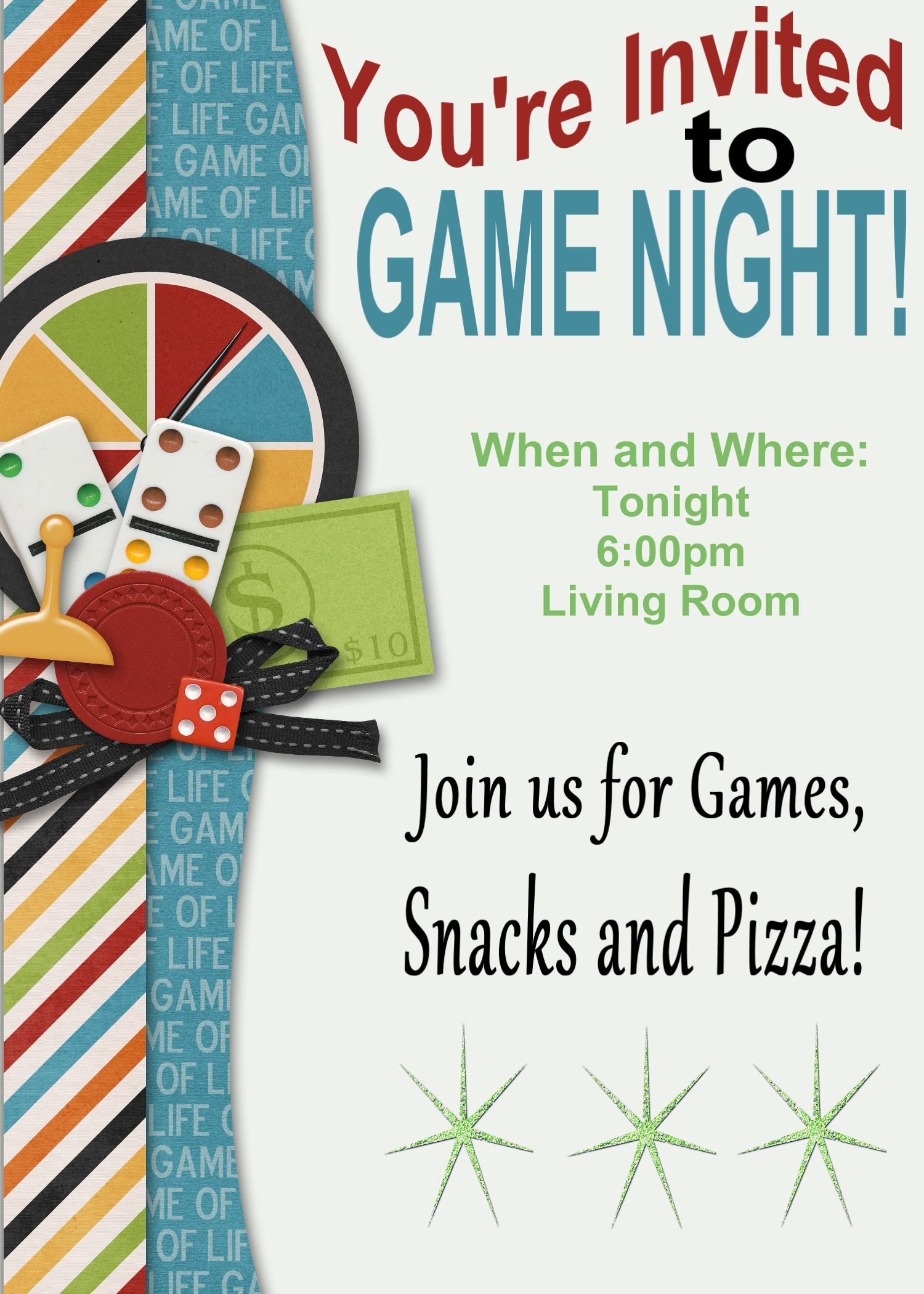 Perfect Game Night Invitation E Card Design With Yellow Border.