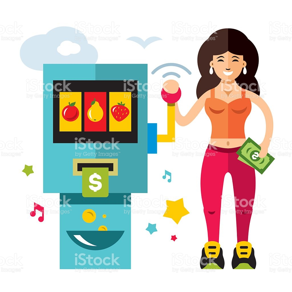 Vector Slot Machine And Girl Game Of Chance Flat Style stock.